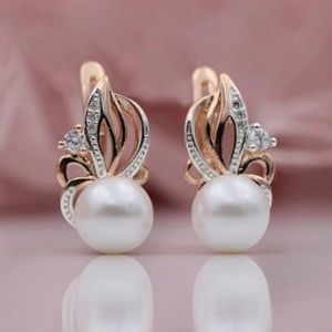 Shell Pearl earrings zircon rose gold plated new